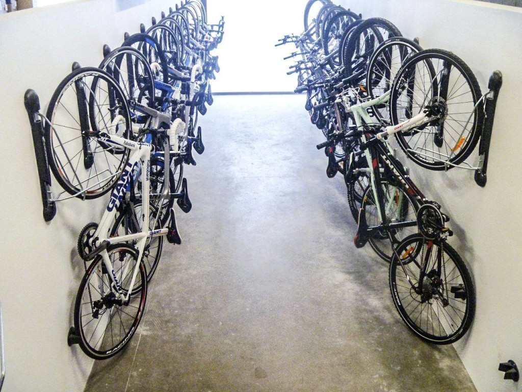 wall mount bike brackets  lifting required bike room